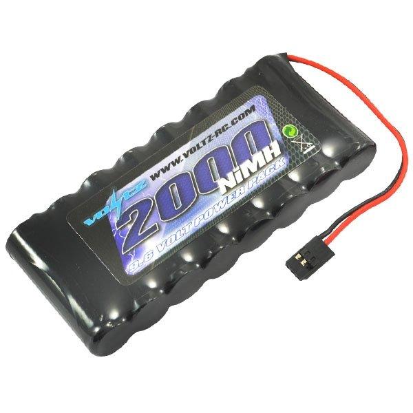 VOLTZ TX 9.6V 2000MAH NIMH FLAT BATTERY PACK W/CONNECTOR