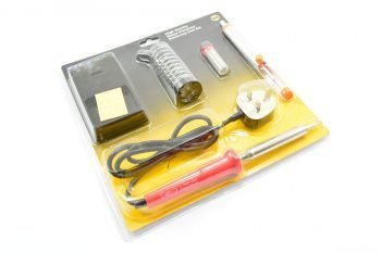 CML 80W SOLDERING IRON W/240V SUPPLY SOLDERING KIT High quality main powered soldering iron kit consisting of a 80W soldering iron with a practical stand, solder pump and 10g of solder wire. The iron itself is constructed with an extra flexible case for ease-of-use and features a long life element for hard-wearing usability. Features: Comprehensive kit featuring all the soldering essentials needed Ideal for hobby use, simple soldering of circuit boards, components etc. Include 10g solder wire Compact and easy to store Extra flexible case for practical use